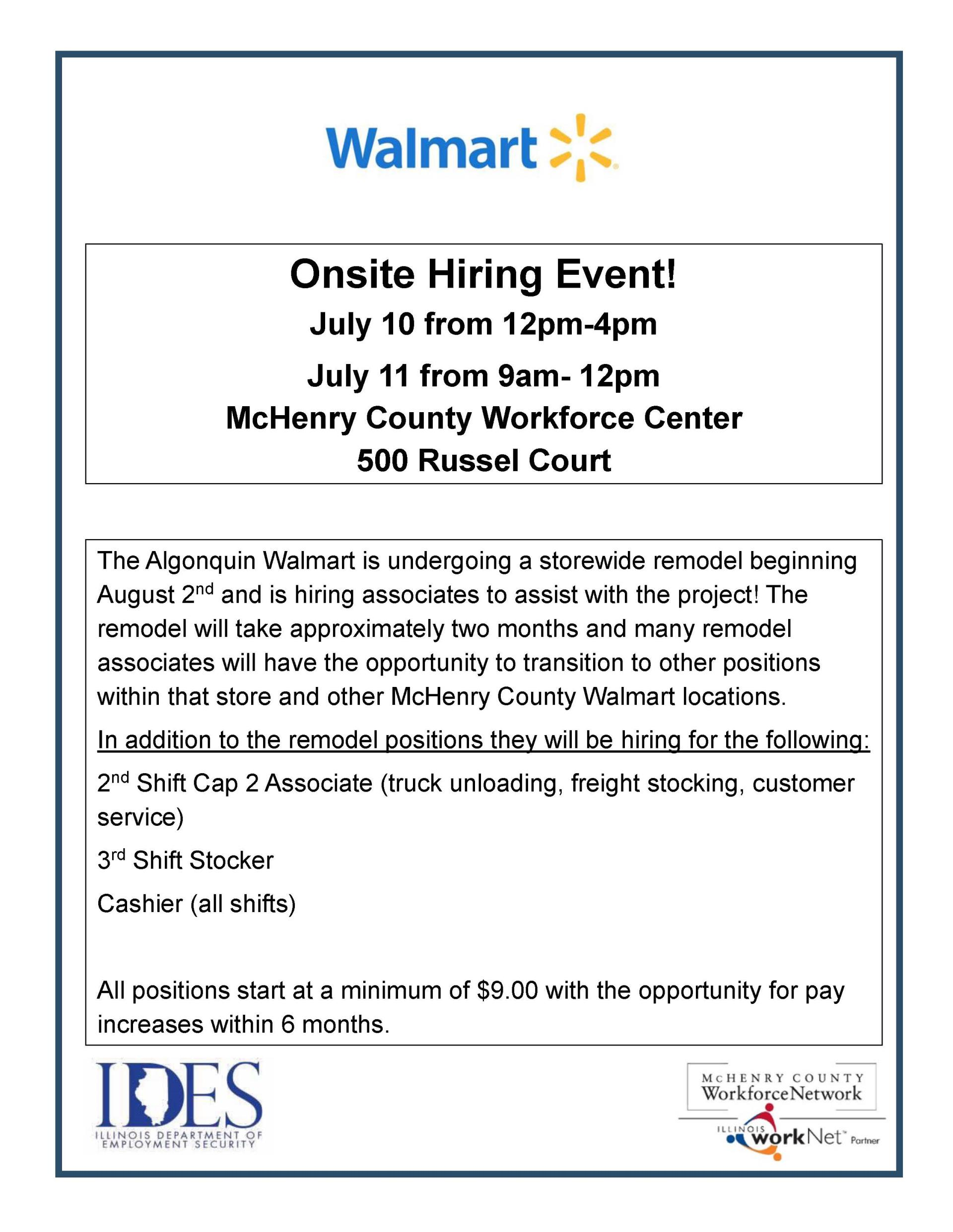 Walmart On Site Hiring Event Calendar Month View Mchenry County Il